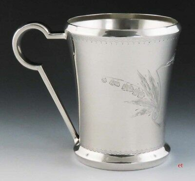 Fine c1870 American Aesthetic Movement Sterling Silver Engraved Cup/Mug