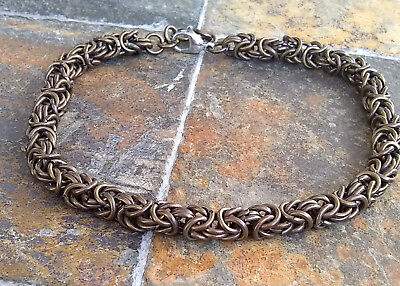 Antique Gold Colored Byzantine Chain Maille Bracelet Handcrafted in the USA