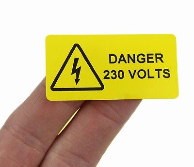 Danger 230 Volts - 50mm x 25mm, Printer electrical safery labels / stickers.