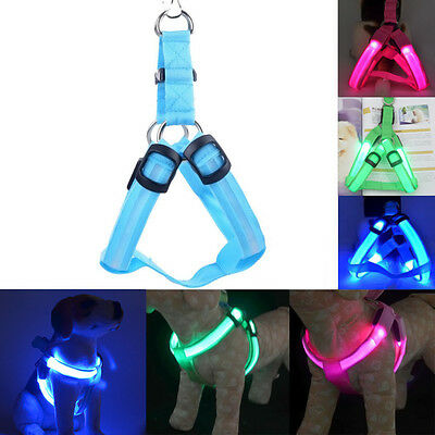 Pet LED Glow Safety Collar Rope Light Dog Puppy Belt Harness Leash Tether