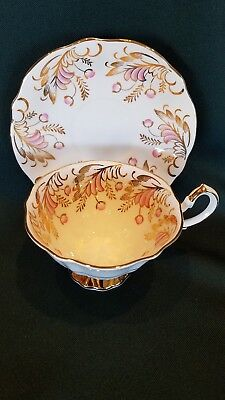 Vintage Queen Anne White w/ Pink Floral Tea Cup and Matching Saucer Set England