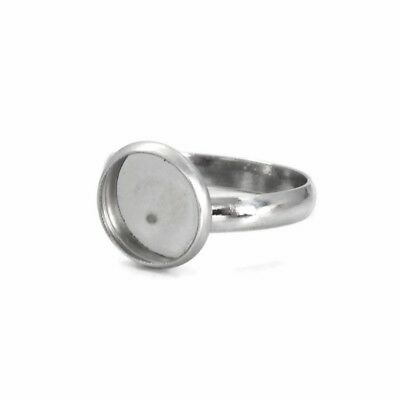 5 Stainless Steel 10mm Cabochon Ring Settings 17.5mm Inner Diameter Size N / US7