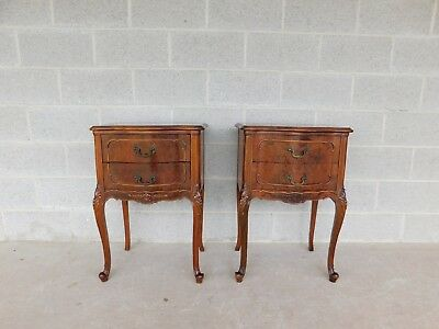 John Stuart French Louis XV Style Walnut Nightstands - A Pair