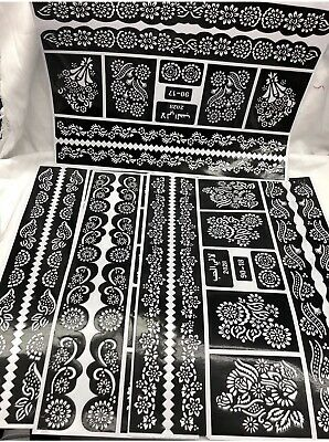 Henna Stencil Mehndi Stencils Arabic/Indian Style Pack Of 8 Pages  Large Size