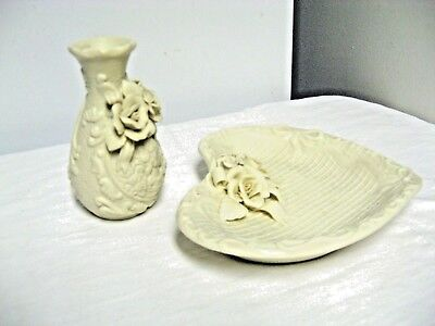 Lot 2 Heavy Cream Vanity Accessory-Applied Roses-Heart Shape Dresser dish