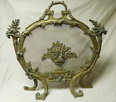 Vtg Antique Freestanding French Rococo Gilt Bronze Brass Fireplace Screen Bouqet
