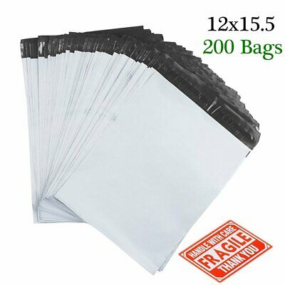 200pcs Poly Mailers 12x15.5 Shipping Envelopes Mailing Bags 2.5 Mil Self Sealing