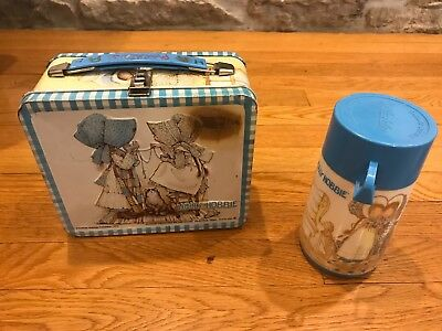 Vintage 1970's Holly Hobbie Metal Lunch Box Aladdin and Matching Thermos Lot