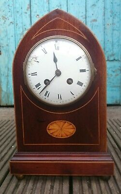 Antique Lancet 8 Day French Inlaid Mahogany Clock For Restoration