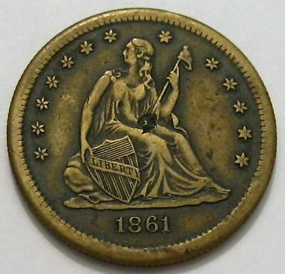 1861 Imitation Seated 25c XF+ Copper Die Struck 5.4grams ( Contemporary )