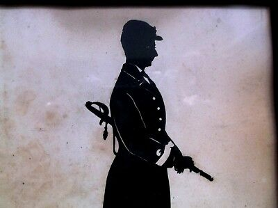 Fine, Rare Antique 19Th Century Framed Silhouette  Of American Civil War Soldier
