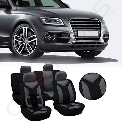 11pcs New Black + Gray Car Seat Covers W/steering wheel cover Suede/Polyester