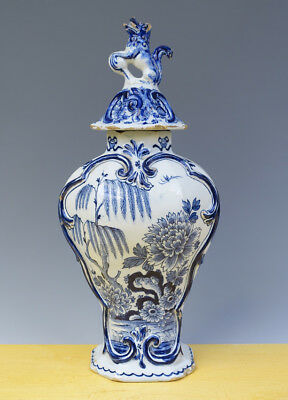 Antique Fine Large Dutch Delft Covered Baluster-Vase Chinoiserie 18TH C. Marked