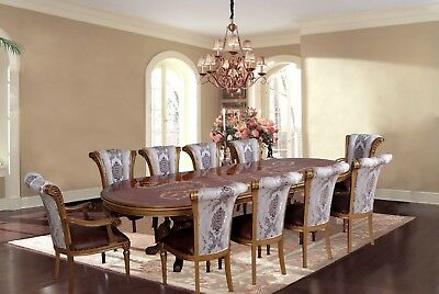 11 Piece European Dining Room Furniture Luxury Formal Dining Set Pedestal Table