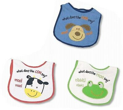 12 x Animal Friends Baby Boys Bibs Bundle Gift - Wholesale Job Lot