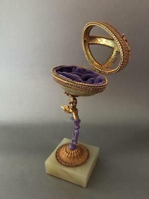 VTG FABERGE STY HAND MADE PAINTED JEWELED REAL EGG JEWELRY BOX w CHERUB STAND