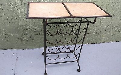 Vintage Patio Table Wrought Iron Wine Rack Tile Top Mid Century Modern