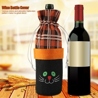 Fabric Halloween Wine Bottle Cover Carrier Mug Stack Bag Cover W/Drawstring Cute