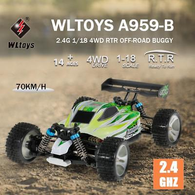 WLtoys A959-B 2.4G 1/18 1:18 4WD 70KM/H Electric Off-Road Buggy RC Car A6E5