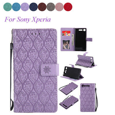 For Sony Xperia Z3 Z5 XA XZ1 Compact Pattern PU Leather Flip Wallet Case Cover
