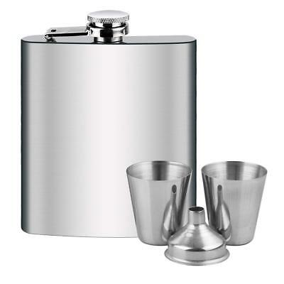 Stainless Steel Hip Liquor Whiskey Alcohol Flask Cap 7 oz Pocket Wine Bottle Set