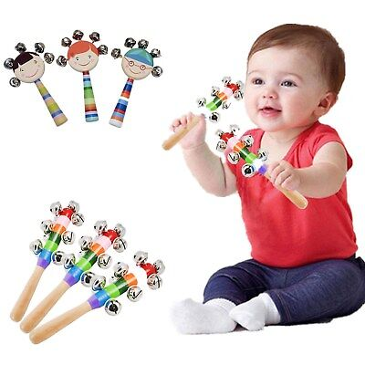 Baby Early Education Rainbow Wooden Handle Bell Jingle Stick Shaker Rattle Toys