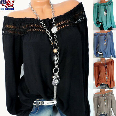 Plus Size Women Ladies Off Shoulder Long Sleeve Blouse Casual Loose T Shirt Tops