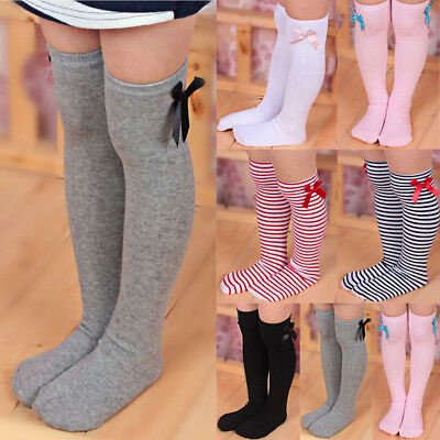 Girls Toddler Warm Long Socks Kids Child Knee High Stockings Cotton Bowknot New