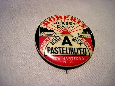 Vintage Roberts Jersey  Dairy New Hartford Ny Dairy ,milk, Cow Pin,button