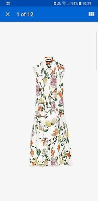 BEAUTIFUL ZARA Floral Leaf Printed Tunic Midi Dress With Knot Front White S BNWT