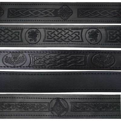 ST Scottish Kilt Belt Buckle Genuine Real Leather Black Embossed Various Styles