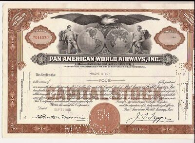 Pan American World Airways, Inc. Vintage Stock Certificate 1953