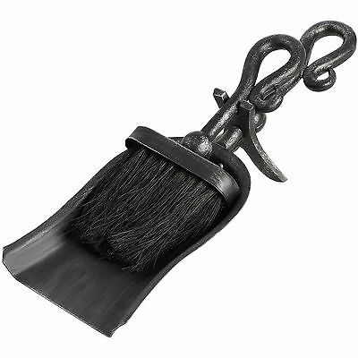 Black Brushed Steel Crook Top Hearth Tidy Set - Maintain Your Fireplace