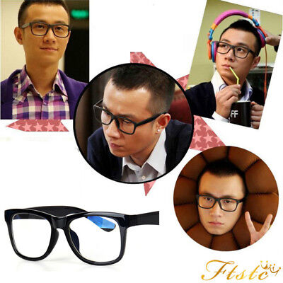 a929cb73997 BIG Oversized Geek Style Clear Lenses Glasses Black Gloss Frames Ladies  Mens New