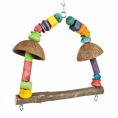 58cm Coconut Rainbow Parrot Swing Toy For African Greys, Amazons 3519
