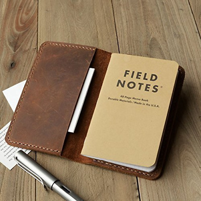 Leather Journal Cover for Field Notes Moleskine Cahier Notebook Pocket size 3.5I