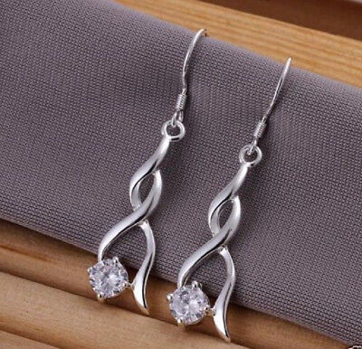 925 Sterling Silver Plated Cubic Zirconia CZ Drop Dangle Hook Earrings+Gift Bag