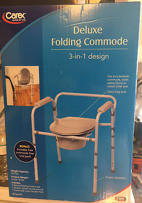 Carex Deluxe Folding Commode 3 in 1 Design X-Long Seat Height Adjustment BONUS