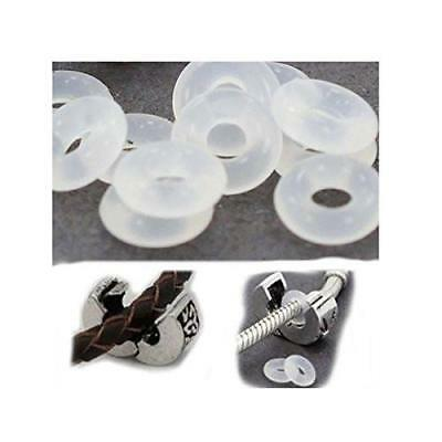 5 Clear silicone rubber stopper clip inserts holds Pandora charm in place bangle