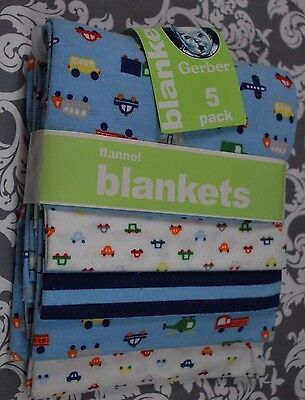 GERBER FLANNEL BLANKETS 5 Pack 30 x 30 Boys Vehicles Blues NEW C584