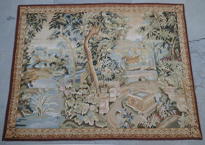 5.3' x 6.8' Authentic French Aubusson Tapestry Antique Design The Brook In Woods
