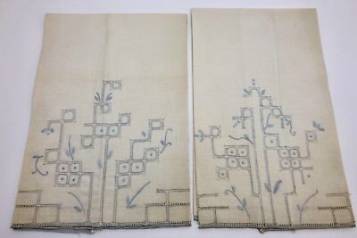 2 Vintage Guest Hand Towels, White W/ Blue Embroidery & Drawn-Thread (RF828)