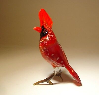 Blown Glass Art Animal Figurine RED CARDINAL Bird