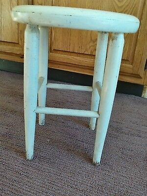 Vintage True Antique Primitive Milking Stool? 4 Legged Wood Round 12 x 15 high