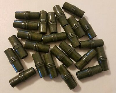 """Lot of 24 Green Vintage Large Bamboo Look Carved Macrame Craft Beads 1-5/8"""" 40mm"""