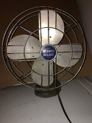 """WORKING but Less-Than-Perfect WIZARD DELUXE OSCILLATING 12"""" FAN # 6J2408"""