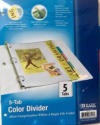 3 pk bazic 3 ring binder dividers with 10 color tabs 988 picclick bazic bazic 3 ring binder dividers w 5 insertable color tabs malvernweather Gallery