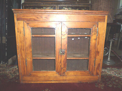 Antique Hand Made Southern Pine Primitive Country Glass Door Curio
