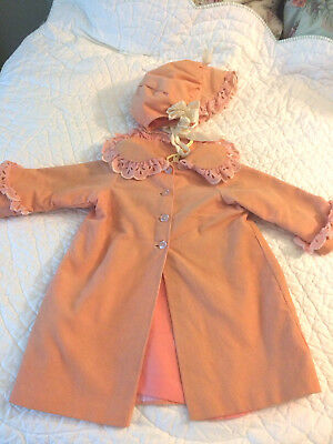 3 piece vintage handmade baby/doll coat and bonnet  12mos-24 mos.