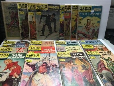 Lot of 20 CLASSICS ILLUSTRATED 15 cent Comics Frankenstein Joan of Arc Mohicans+